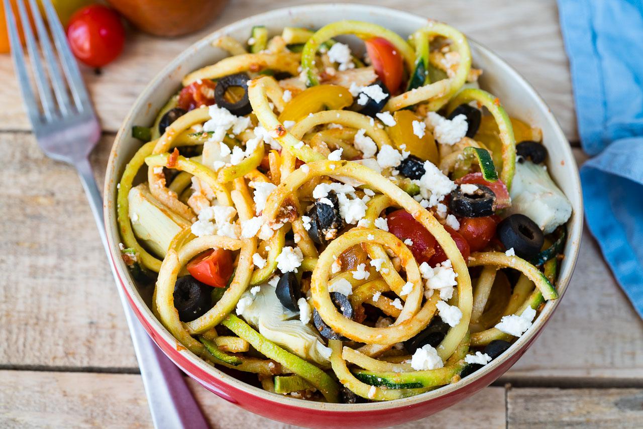 CleanFoodCrush Mediterranean Zucchini Noodle Salad