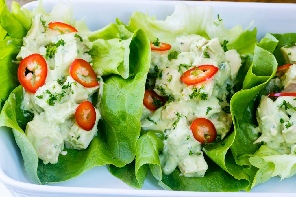 Eat Clean Avocado Chicken Salad Wrapped with Lettuce
