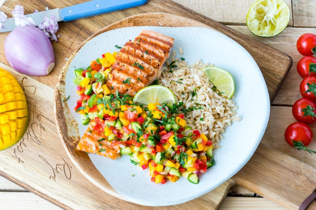 Lime Salmon With Rice And Salsa
