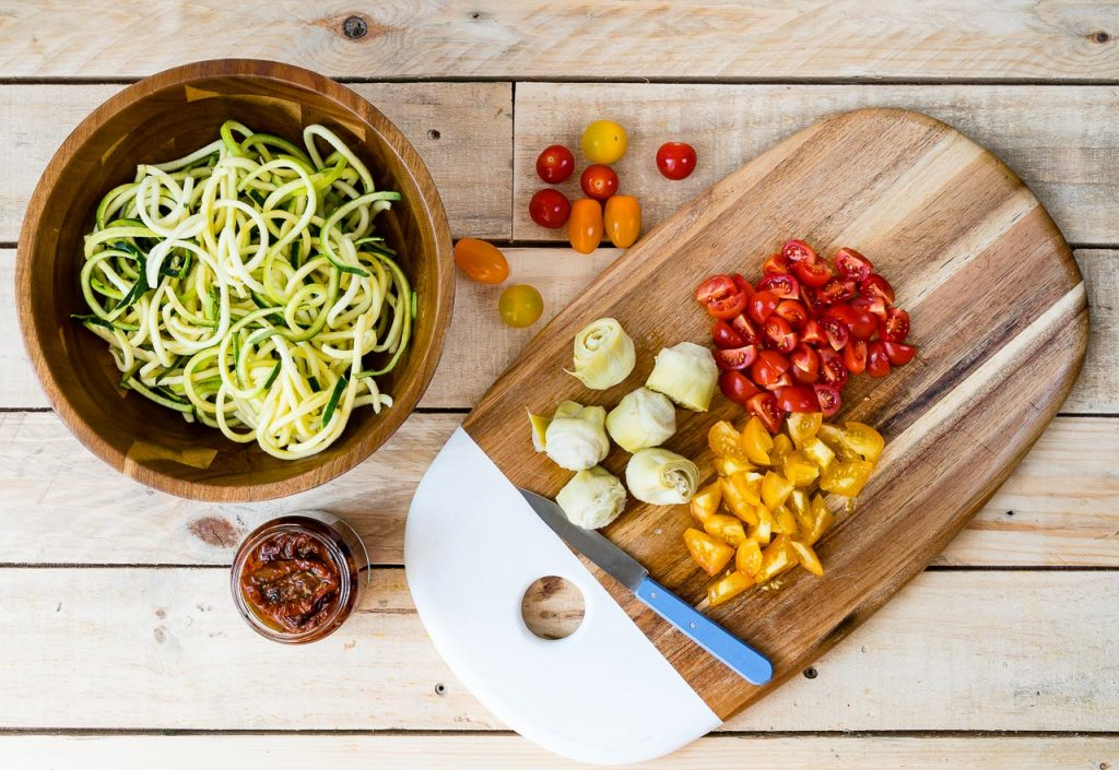 Fresh and Healthy Mediterranean Zucchini Noodle Salad