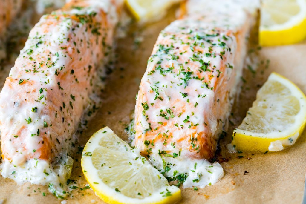 Eat Clean Oven Baked Salmon with Lemon Cream Sauce