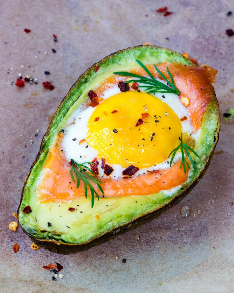 Clean Eating Smoked Salmon Egg Baked Avocados
