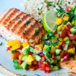 Grilled Lime Salmon + Avo-Mango Salsa CleanFoodCrush