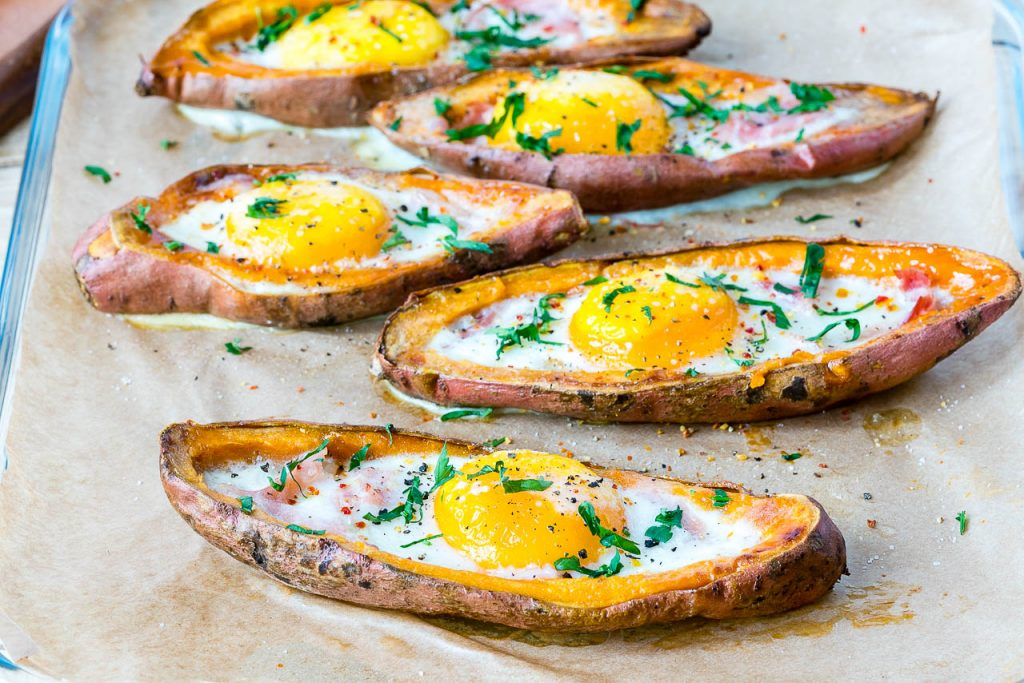 Ham n Egg Loaded on Sweet Potatoes