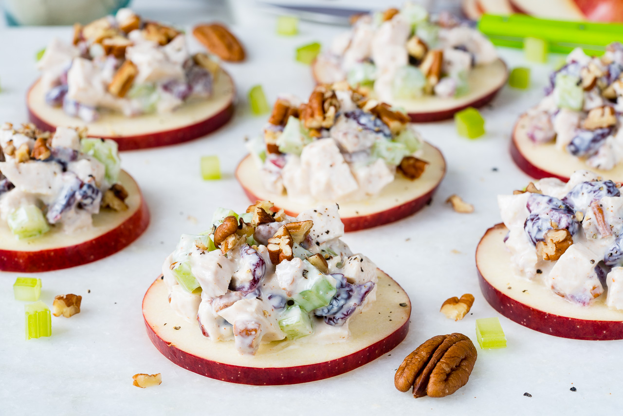Healthy Cranberry Chicken Salad on Apple Slices