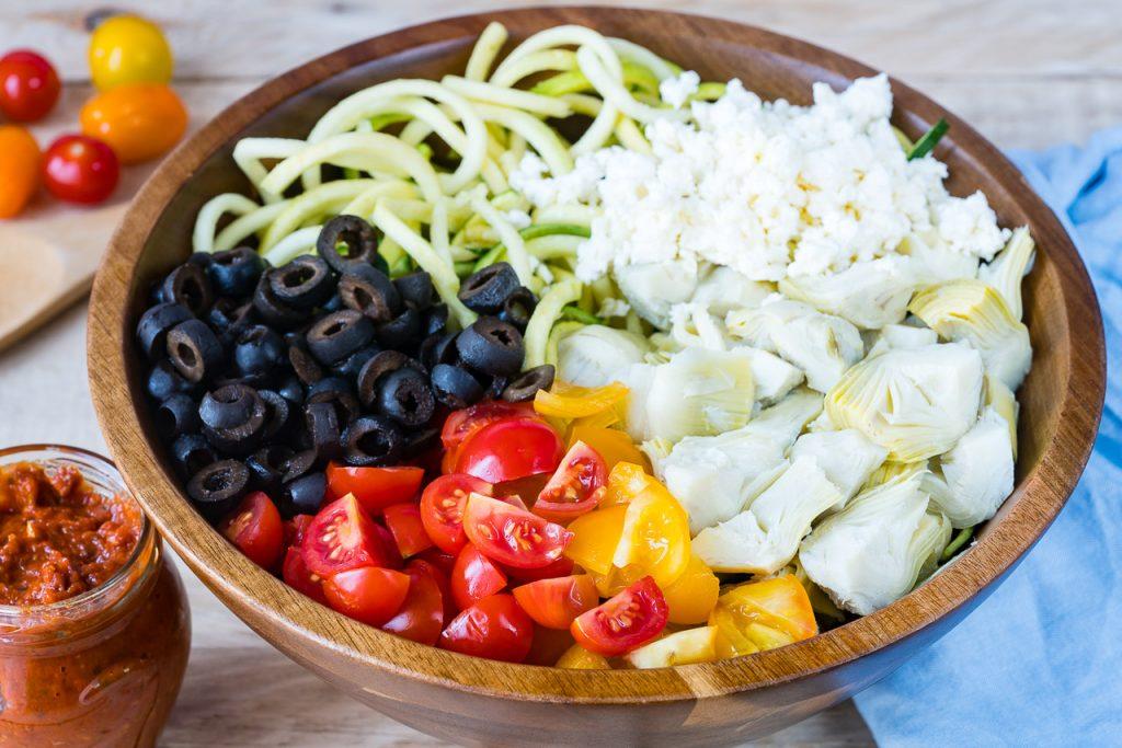 Mediterranean Zucchini Noodle Salad Recipe