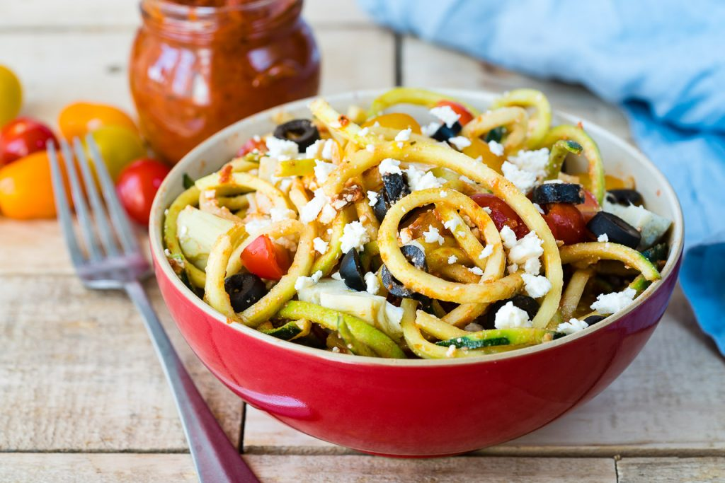 Low Carb Mediterranean Zucchini Noodle Salad