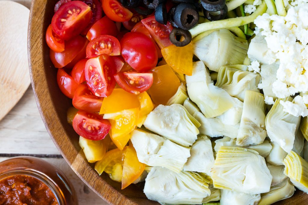 Mediterranean Zucchini Noodle Salad Ingredients