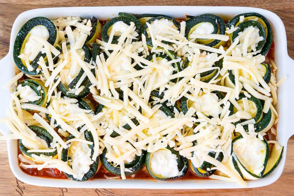 Based Zucchini Lasagna Roll Ups