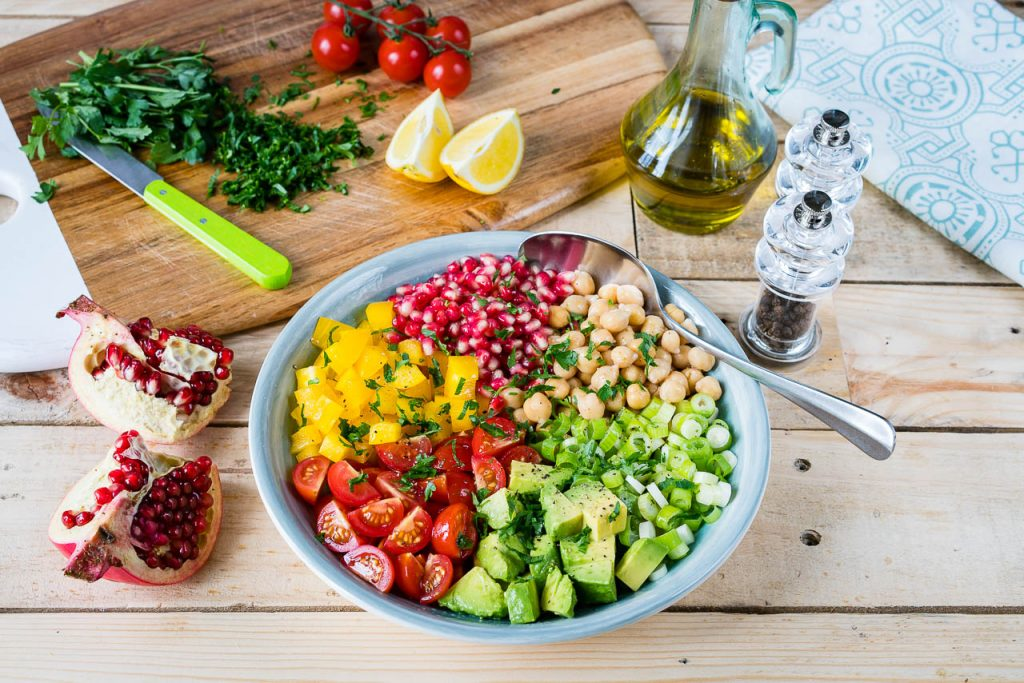 Chickpea Tomato Avocado Salad Instruction