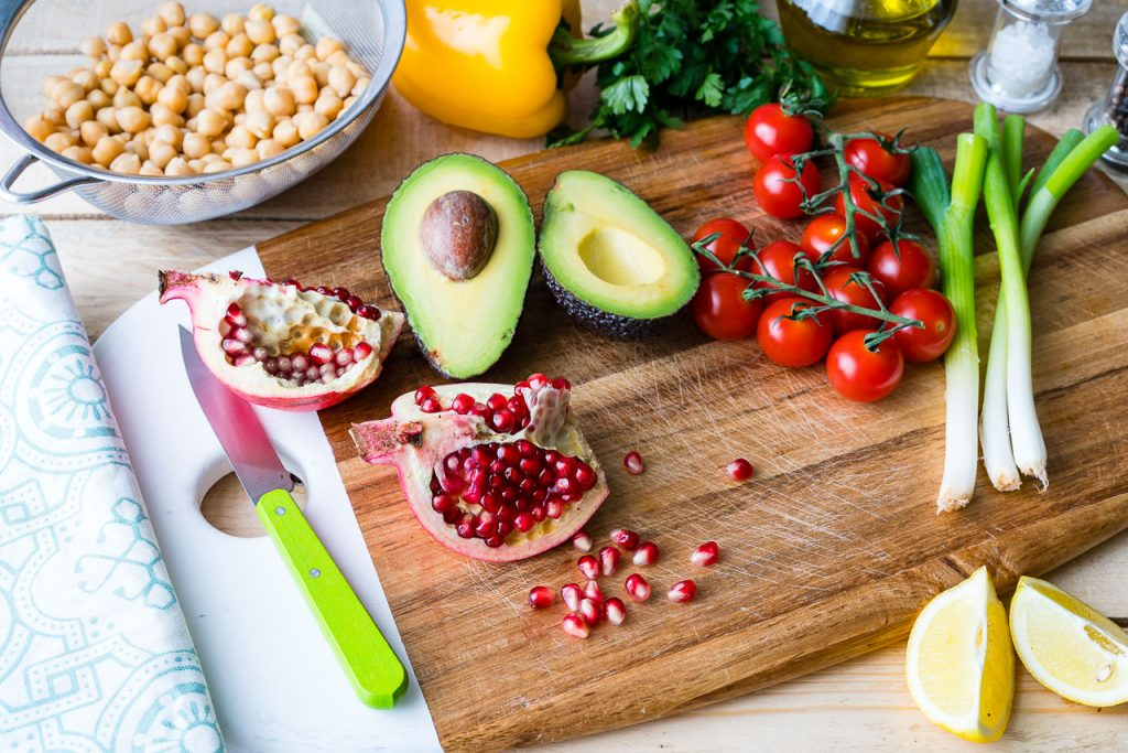 Healthy Chickpea Tomato Avocado Salad Recipe