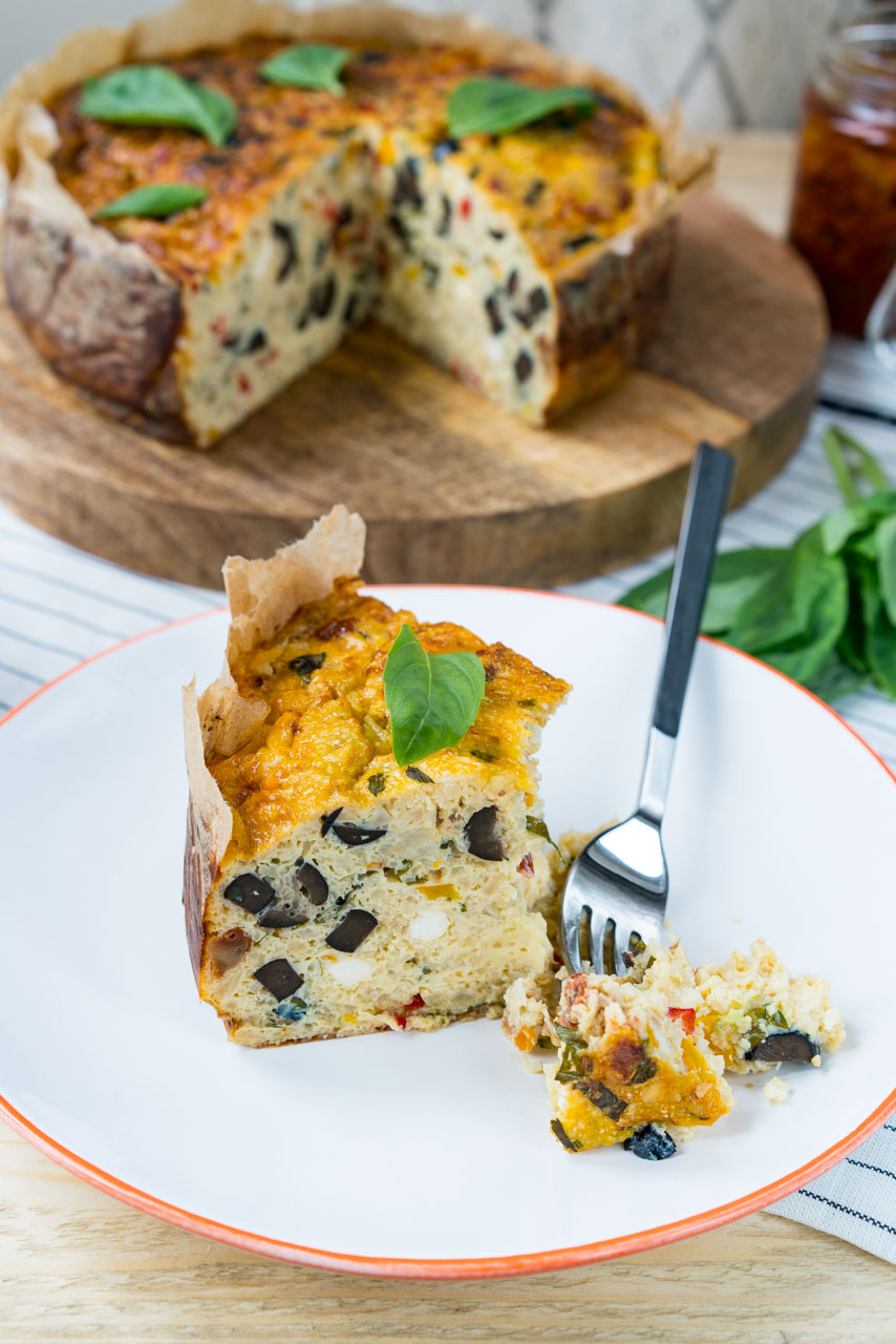 Mediterranean Cauliflower Rice Quiche