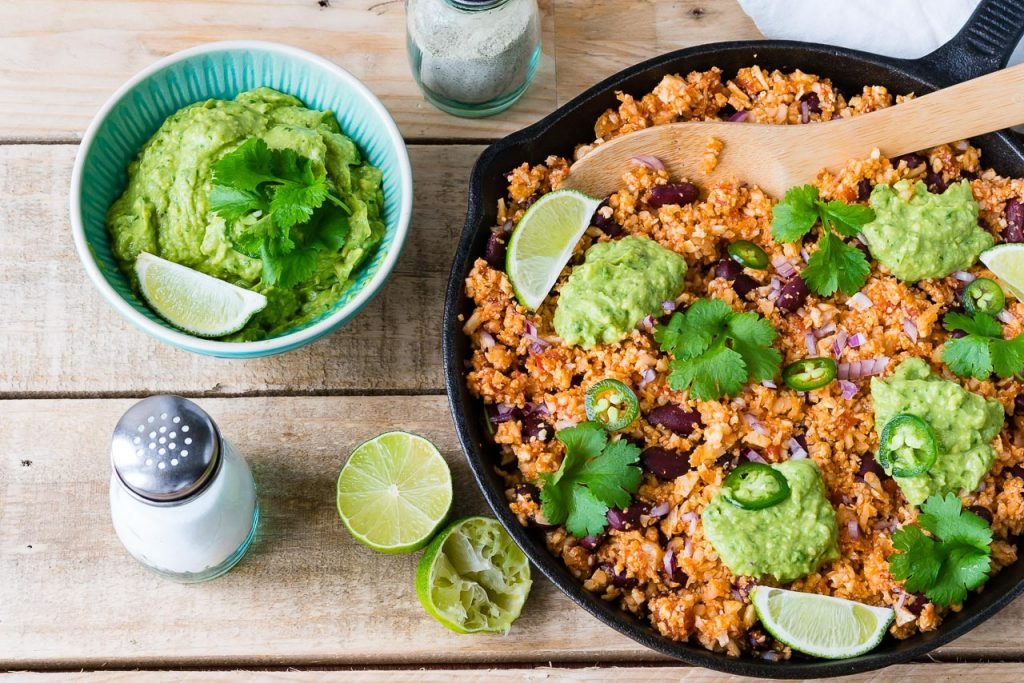 Clean Eating Mexican Style Cauliflower Rice + Guacamole