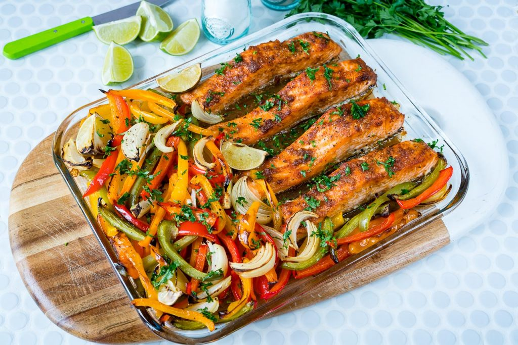 Clean Eating Sheet Pan Salmon Fajitas