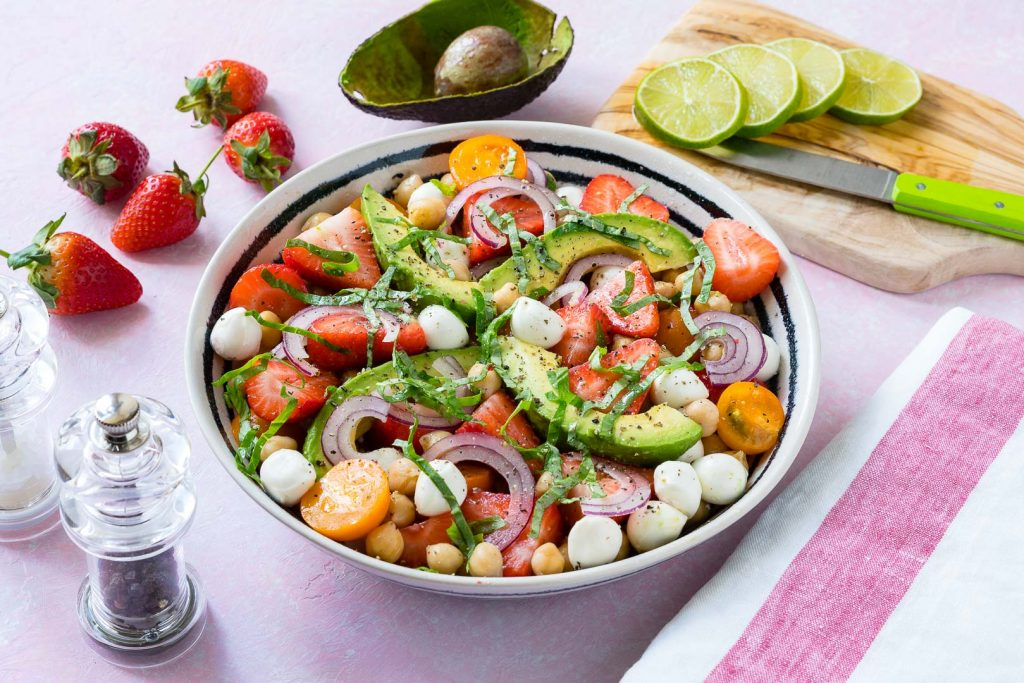 Strawberry Avocado Chickpea Caprese Salad
