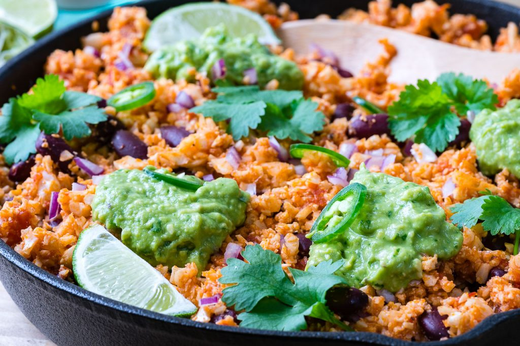 Clean Mexican Style Cauliflower Rice Guacamole Recipe