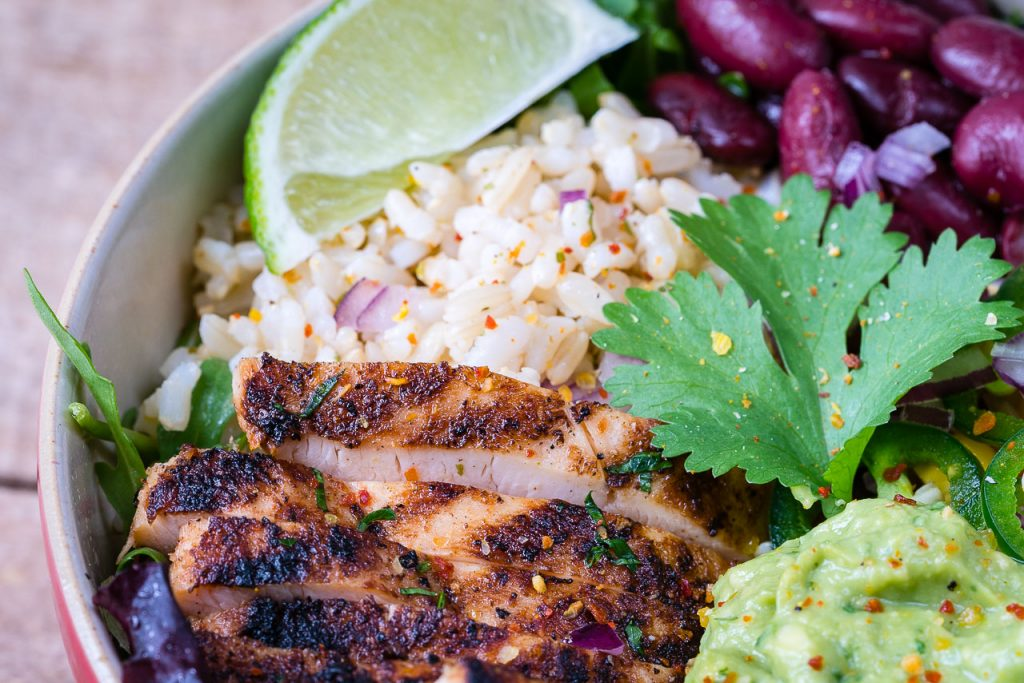 Healthy Chicken Burrito Bowls Cilantro Lime Rice