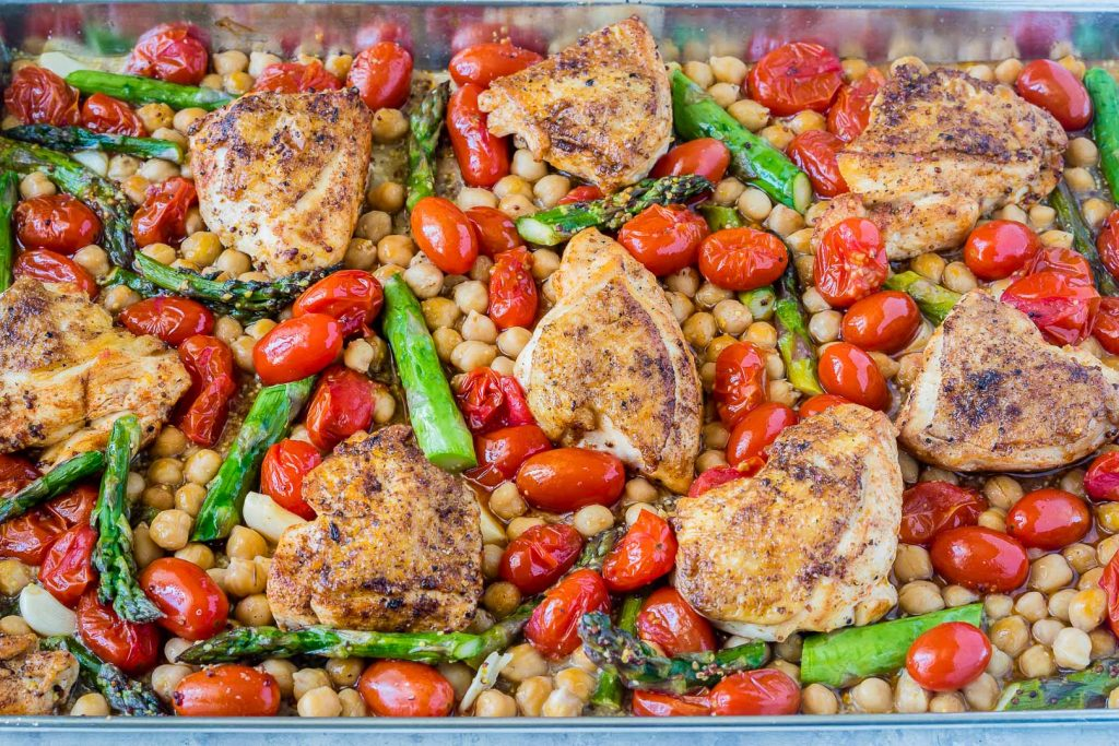 Clean Food Mustard Garlic Chicken Chickpeas Fresh Asparagus