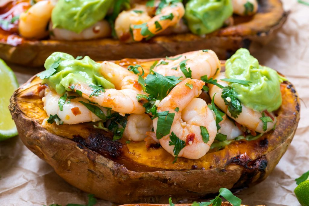 Spicy Shrimp Stuffed Sweet Potatoes Avocado Cream