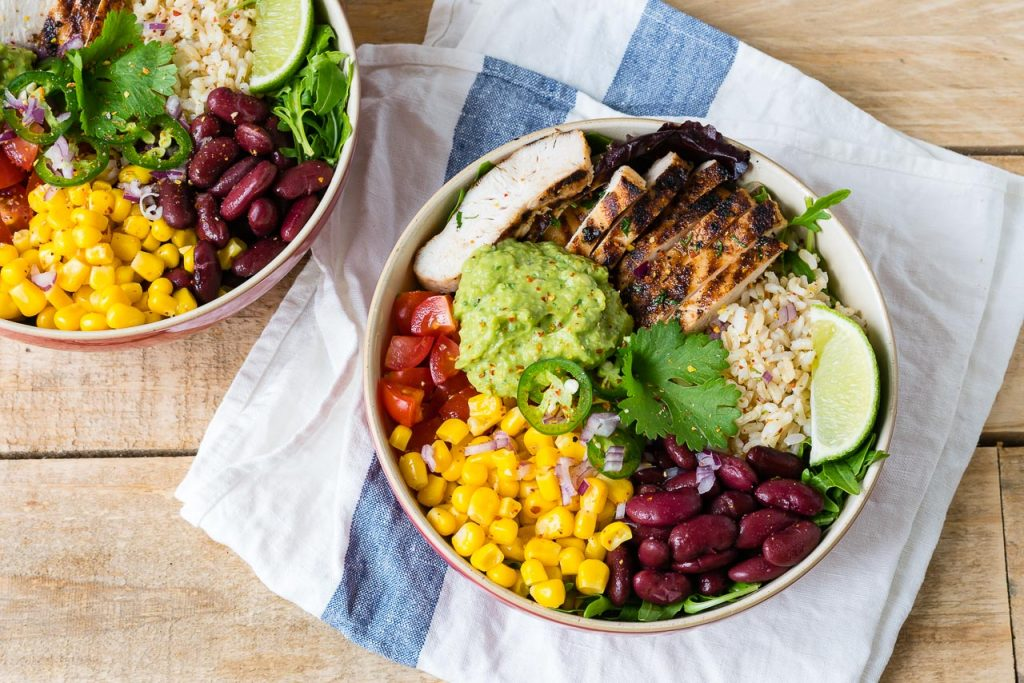 Chicken Burrito Bowls Cilantro Lime Rice Lunch Idea