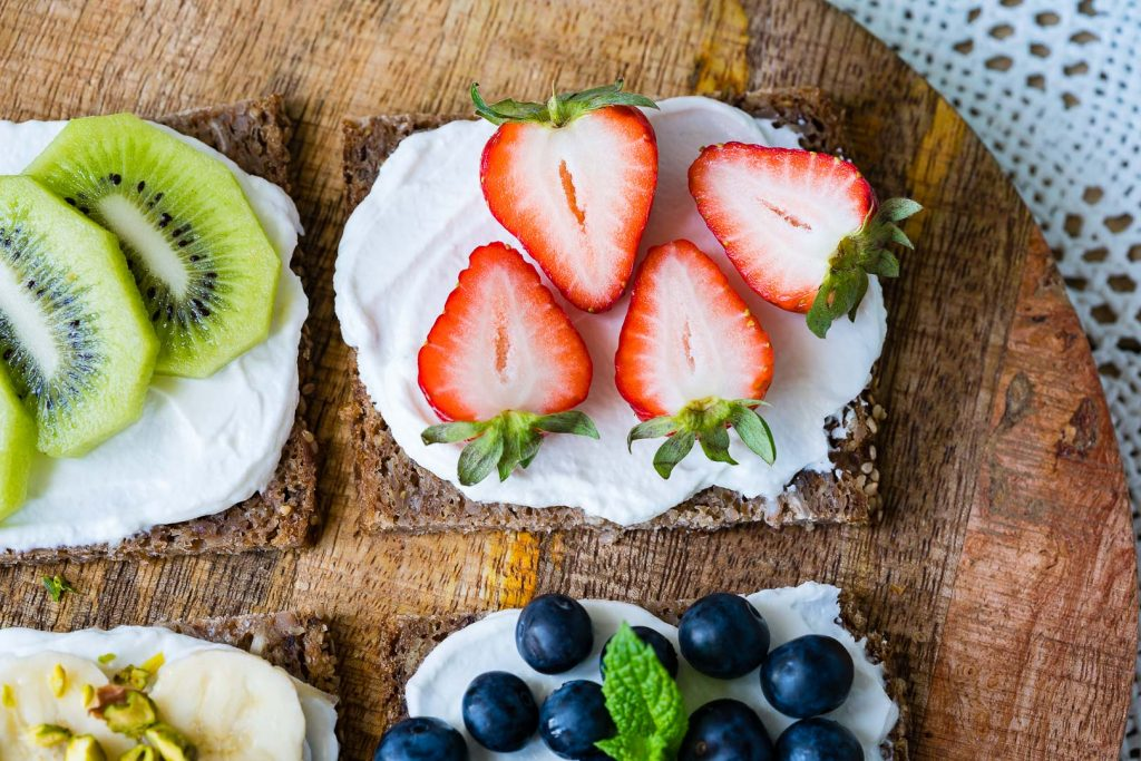 Fresh fruit Tops on Ricotta Toast