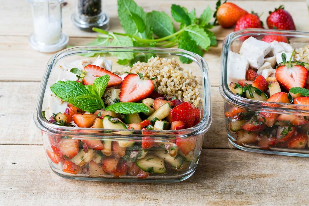 Roasted Chicken Strawberry Salsa Bowls Lunch Idea