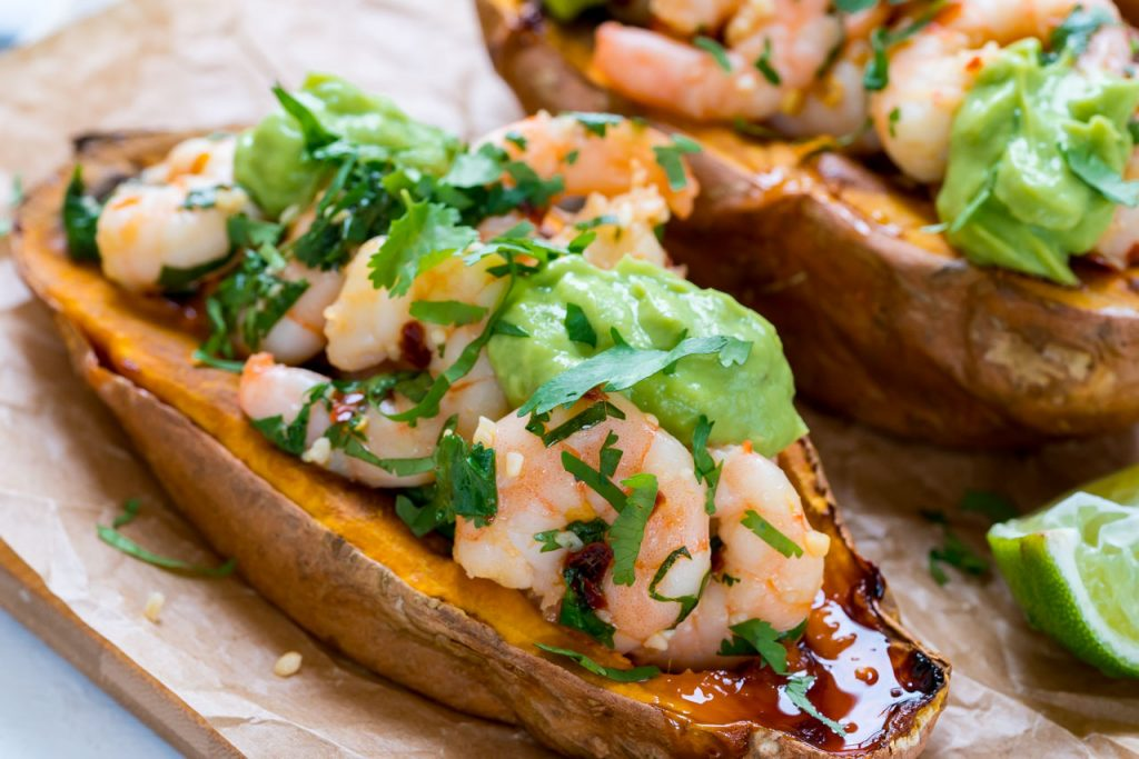 Sweet and Spicy Shrimp Stuffed Potatoes Avocado Cream