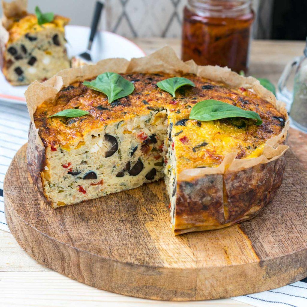 Healthy Mediterranean Cauliflower Rice Quiche Recipe