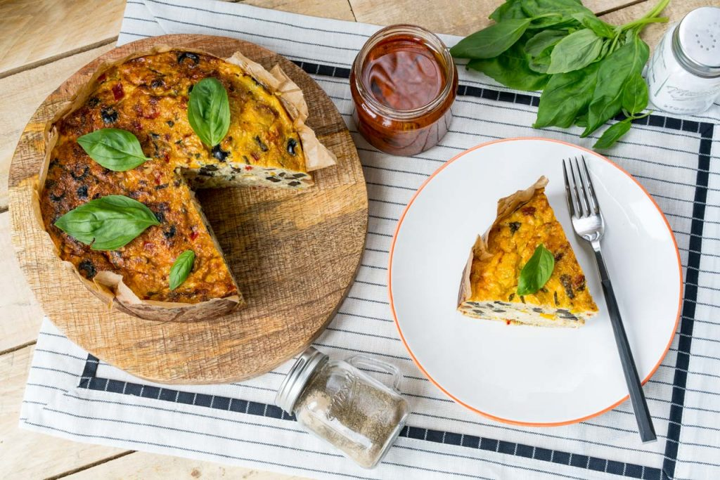 Mediterranean Cauliflower Rice Quiche Breakfast idea