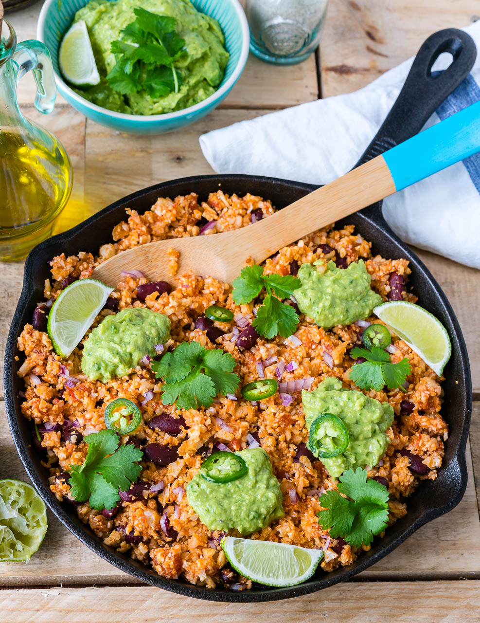 Family favorite Clean Mexican Style Cauliflower Rice Guacamole meal