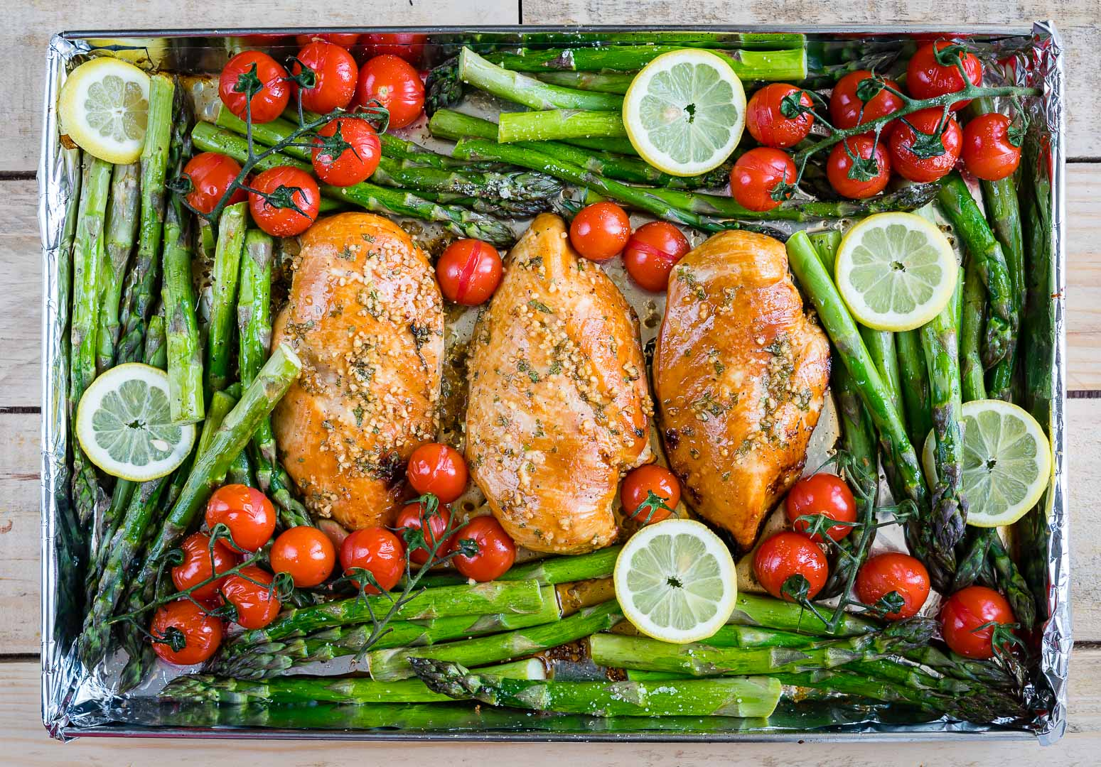 One Pan Honey garlic chicken and asparagus