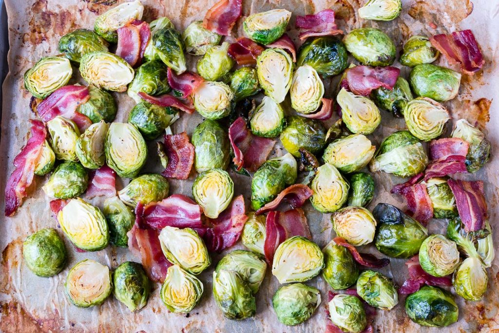 Oven Roasted Brussels Sprouts + Bacon Easy Side Dish