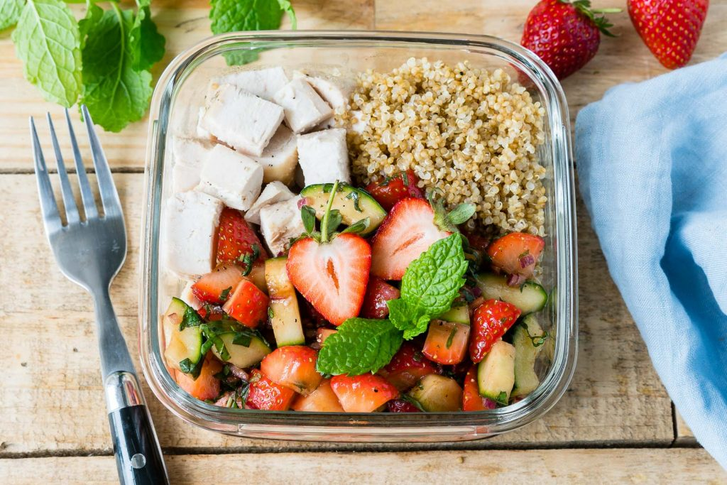 Roasted Chicken + Strawberry Salsa Bowls