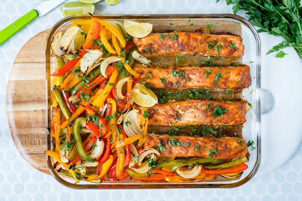 Clean Food Sheet Pan Salmon Fajitas