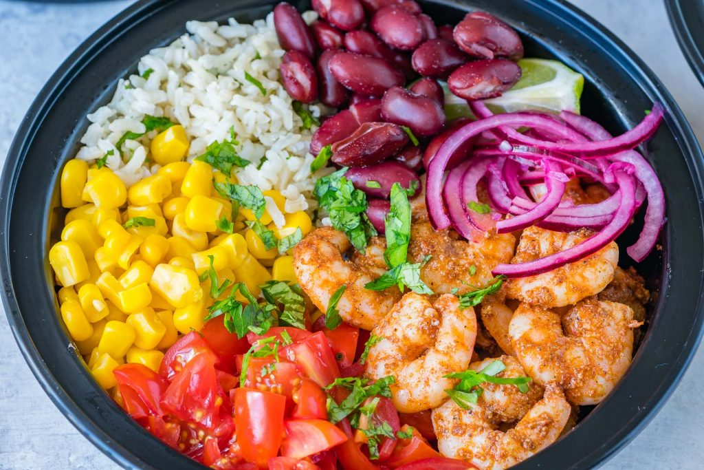 Healthy Shrimp Burrito Meal Prep Bowls