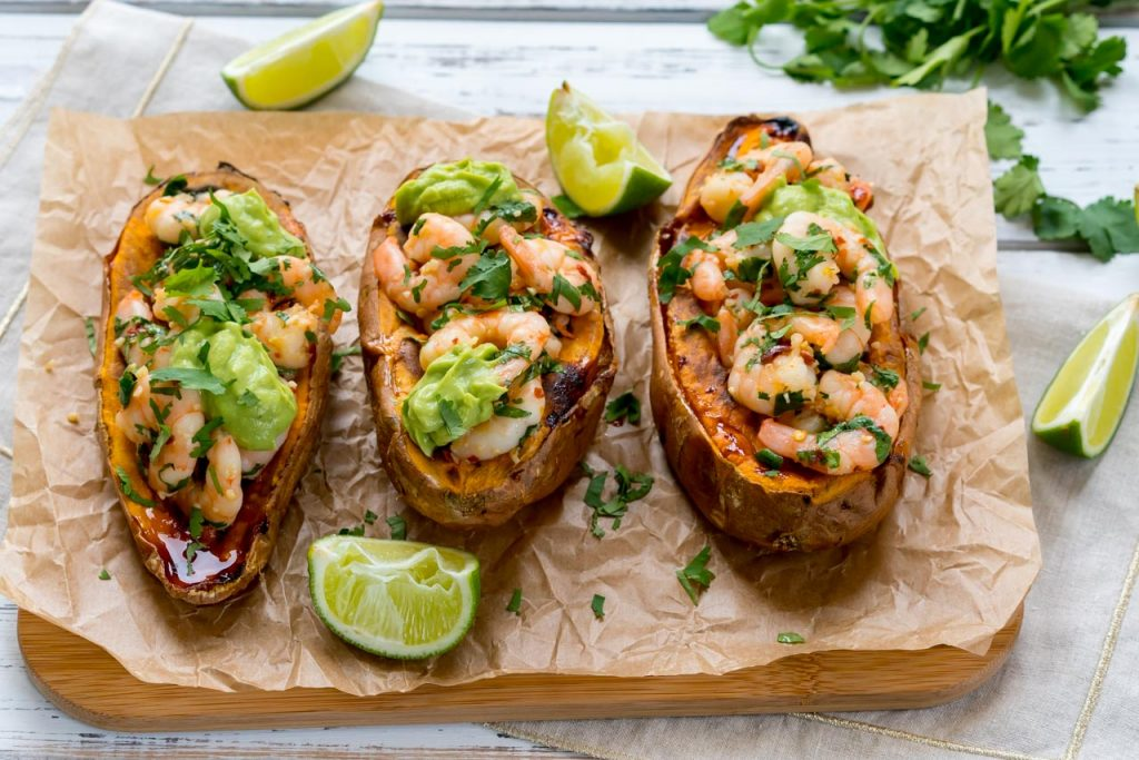 Spicy Shrimp Stuffed Sweet Potatoes Avocado Cream Instruction