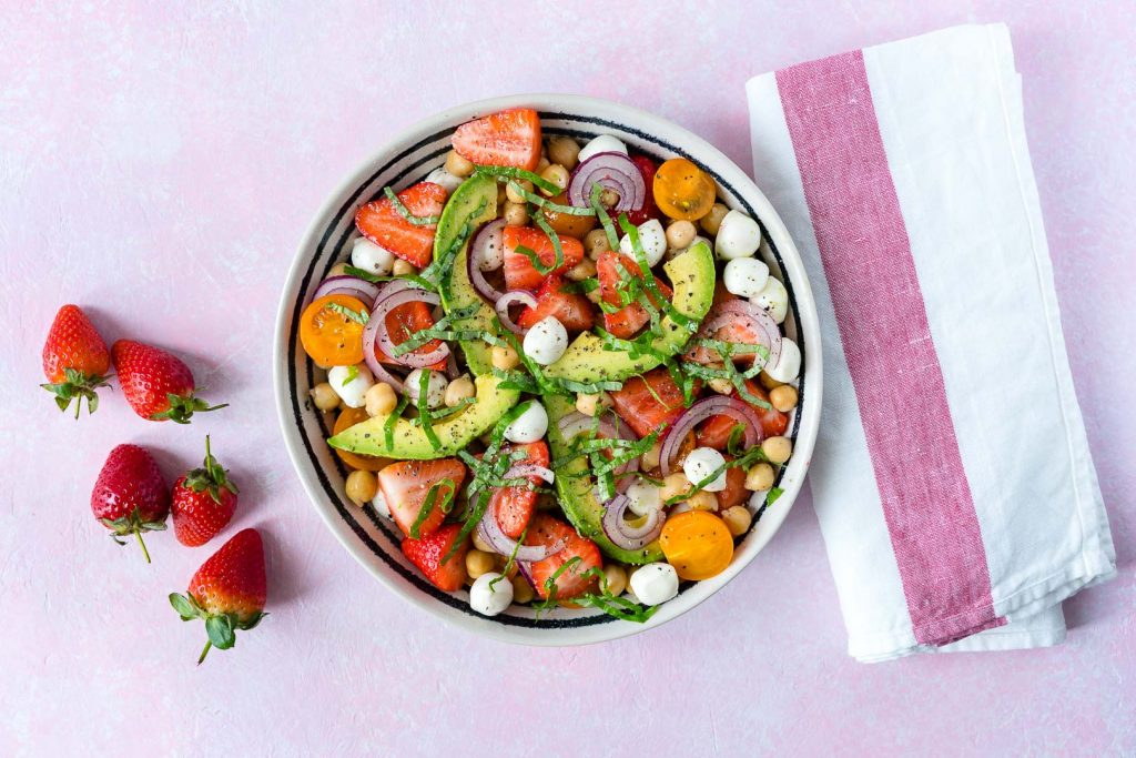 Strawberry Avocado Chickpea Caprese Salad Recipe