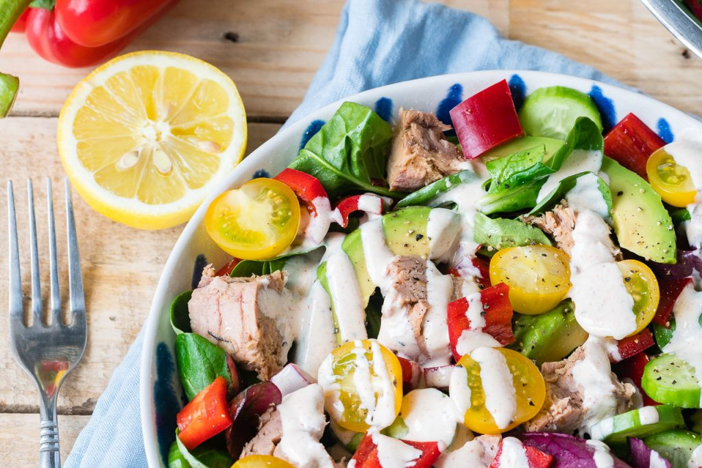 Healthy Tuna Salad with Yogurt Chipotle Dressing