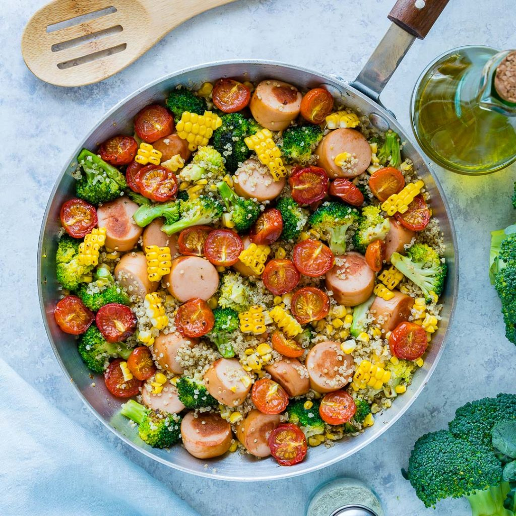 Broccoli Sausage Quinoa Skillet