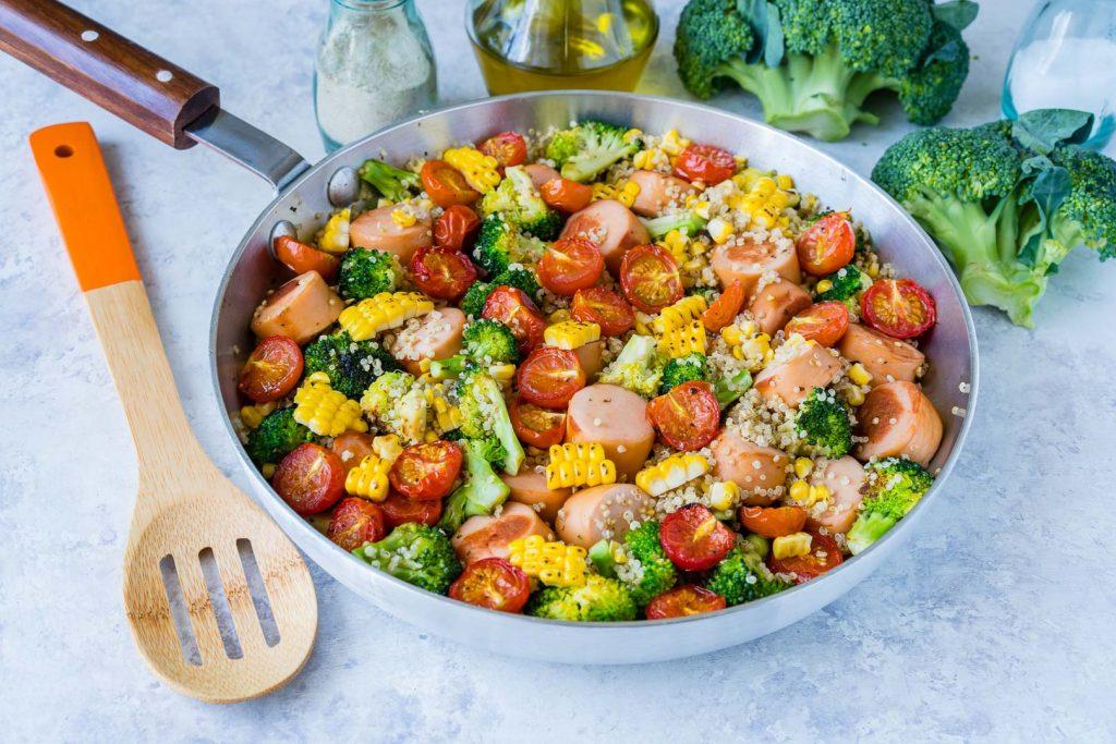 Healthy Broccoli Sausage Quinoa Skillet