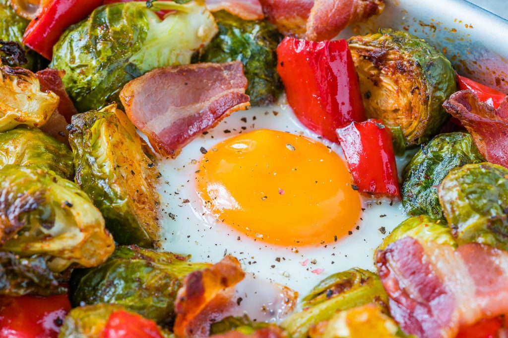 Brussels Sprouts Eggs Bacon Breakfast Meal