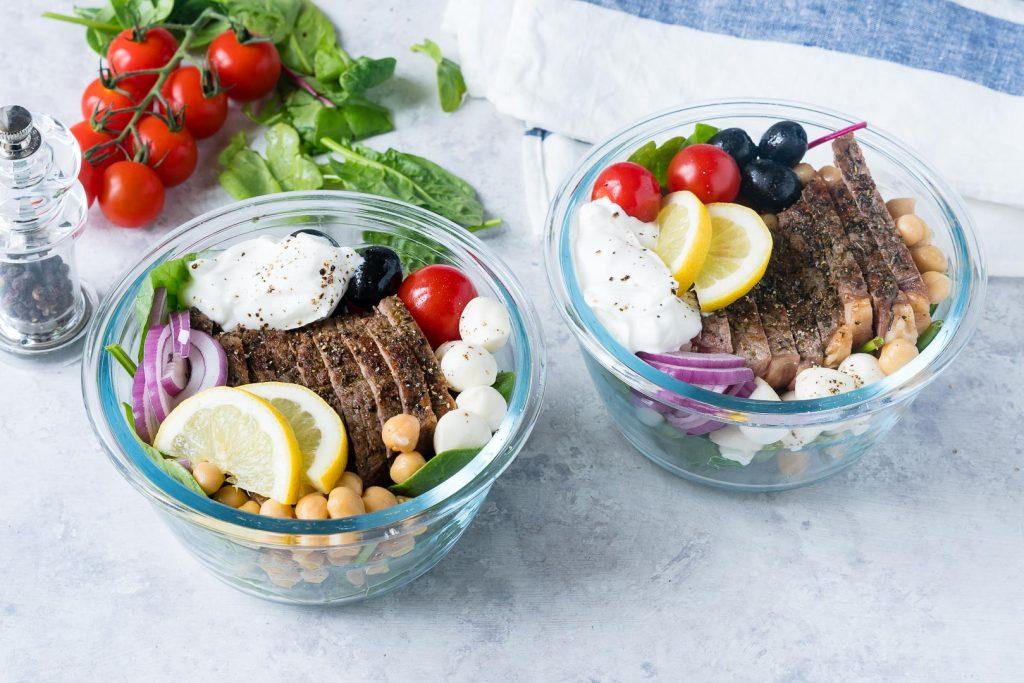 Healthy Mediterranean Steak Salad Bowls