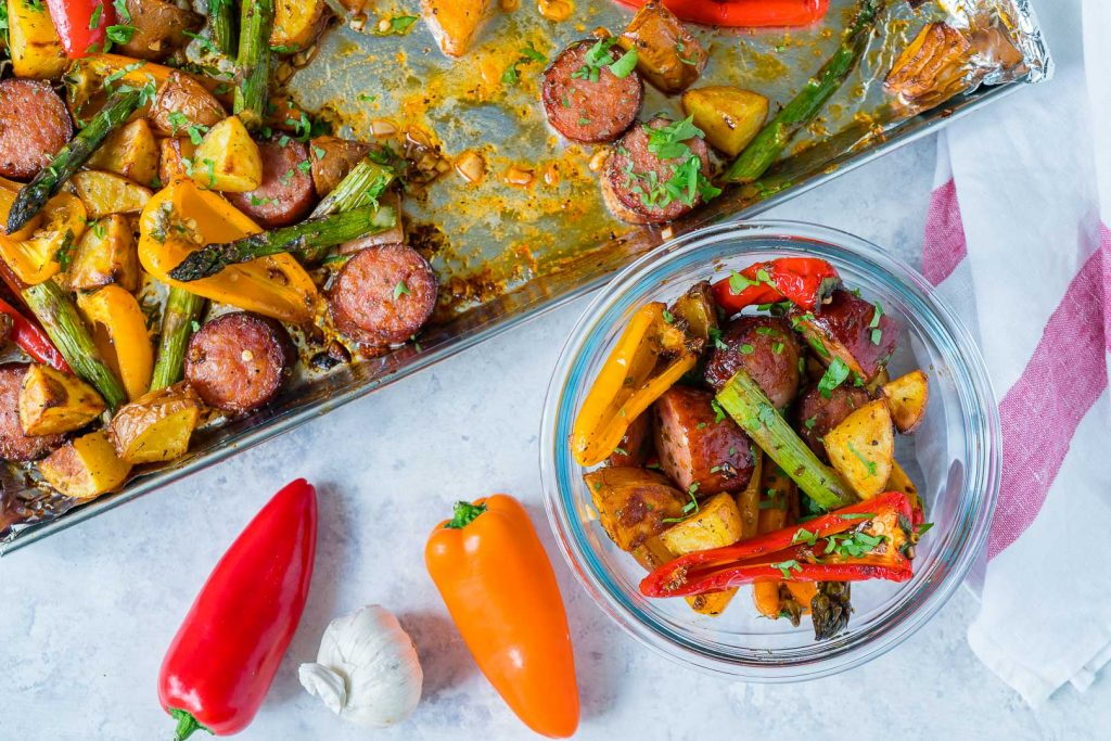 One Pan Honey Garlic Sausage Veggies Recipe Instructions