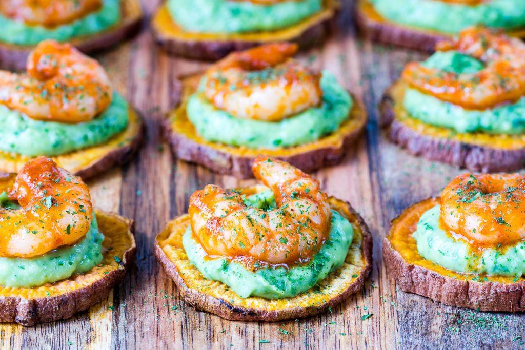 Spicy Shrimp Guacamole Crisps Side Dish