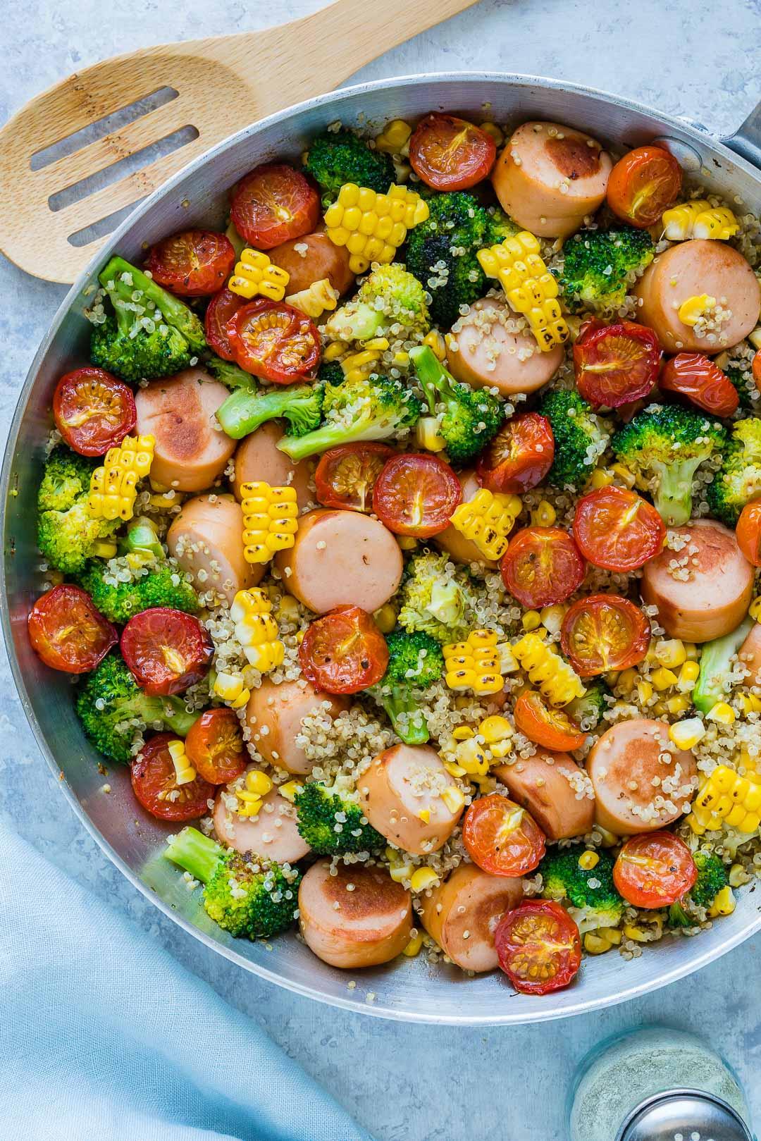 Clean Food Broccoli Sausage Quinoa Skillet