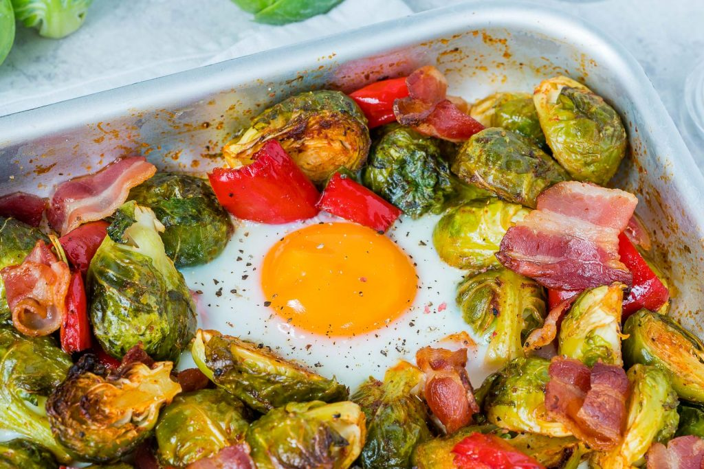Healthy Brussels Sprouts Eggs Bacon