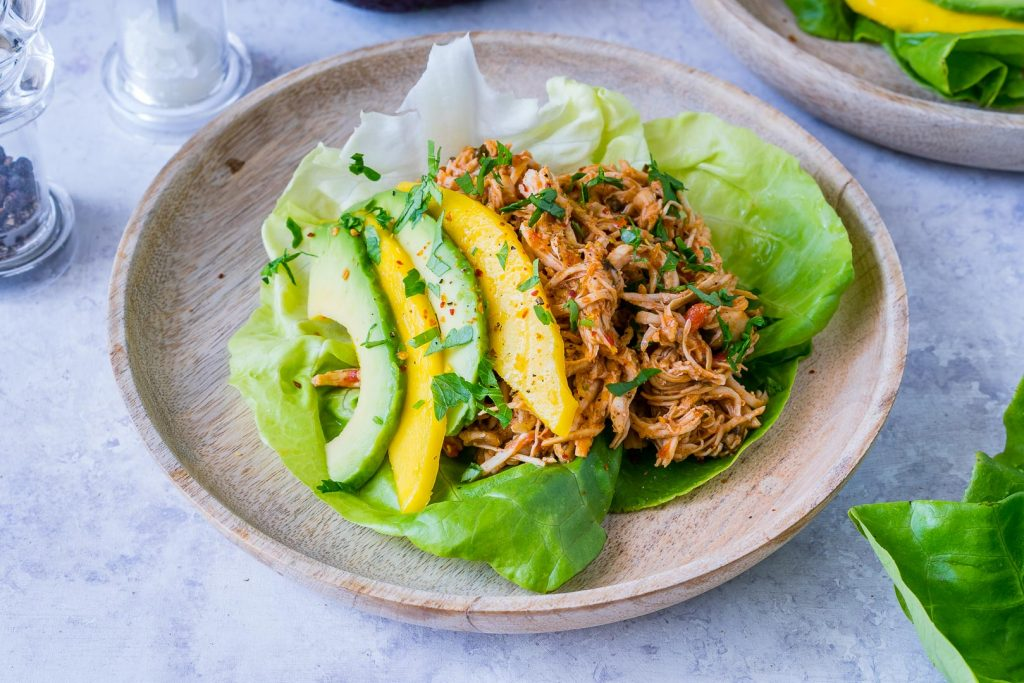 Healthy Jamaican Chicken Lettuce Wraps