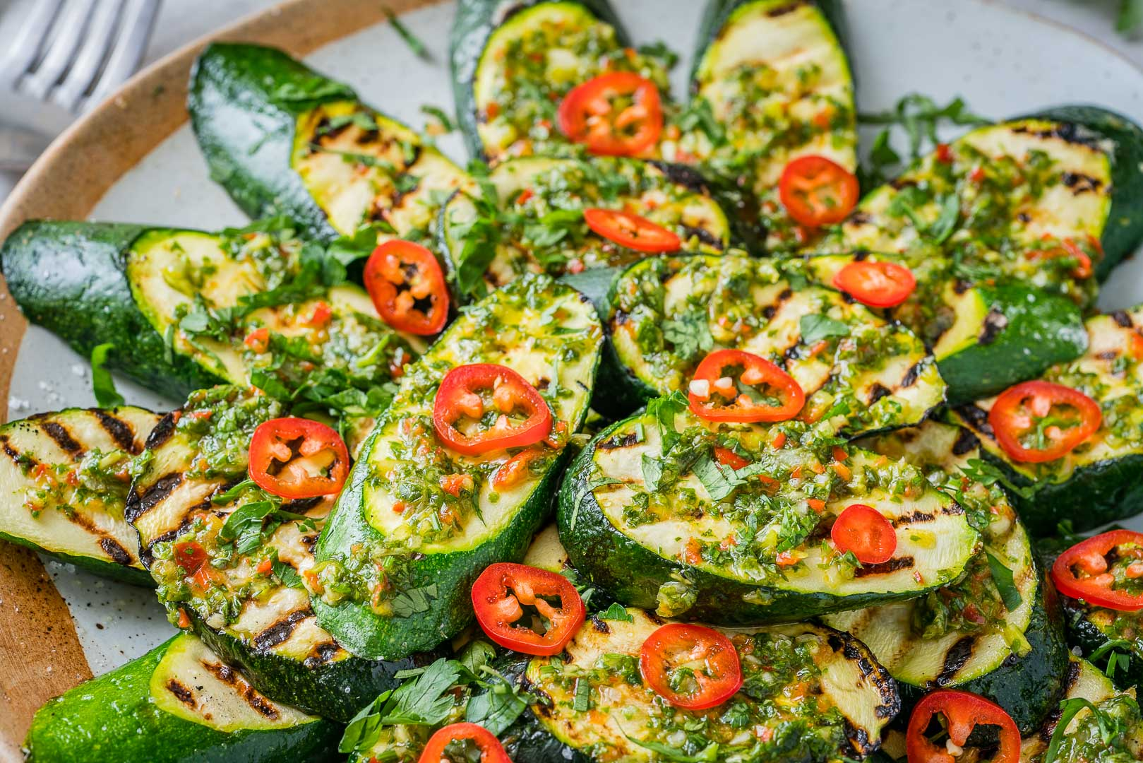 CleanFoodCrush Grilled Fresh Zucchini with Chimichurri