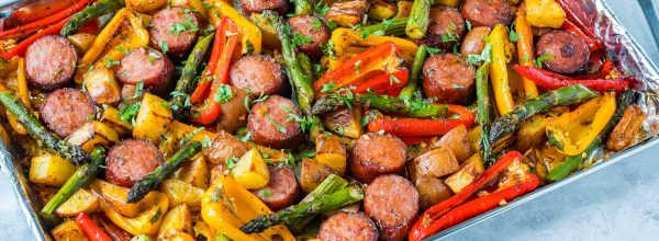 CleanFoodCrush One Pan Honey Garlic Sausage + Veggies