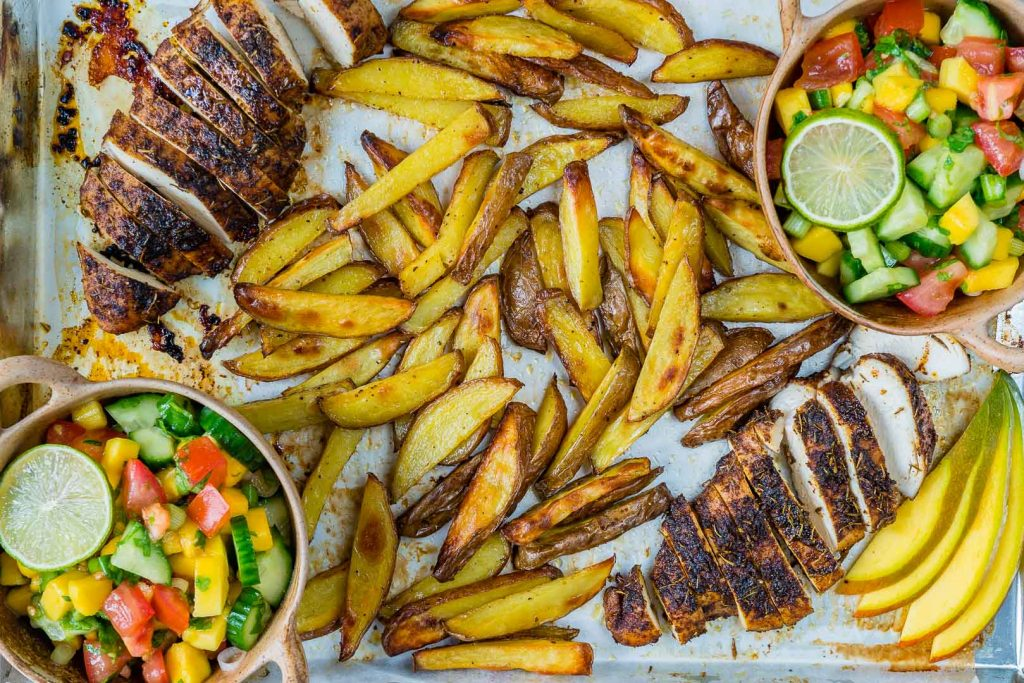 Sheet Pan Jerk Chicken with Baked Fries Fresh Mango Salsa